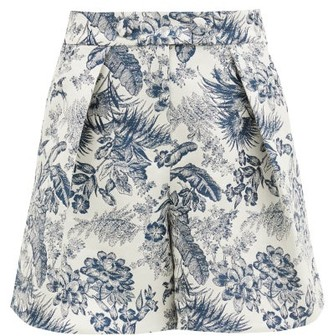 Erdem Howard Toile De Jouy-jacquard Twill Shorts - Cream Navy