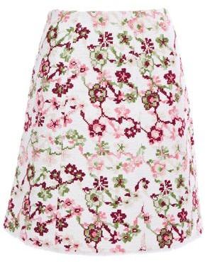 Giambattista Valli Embroidered Cotton-blend Tweed Mini Skirt