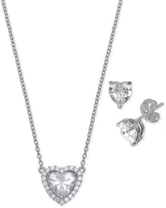 Giani Bernini 2-Pc. Set Cubic Zirconia Heart Pendant Necklace & Matching Stud Earrings in Sterling Silver