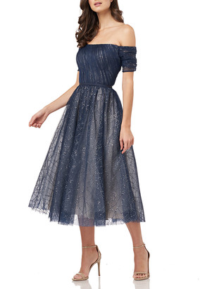 Carmen Marc Valvo Off-the-Shoulder Sparkle Tulle Party Dress with Cuff Sleeves