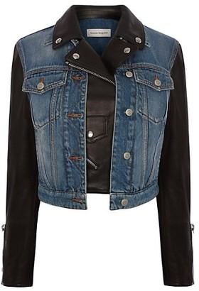 Alexander McQueen Denim & Leather Moto Jacket