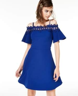 BCX Juniors' Off-The-Shoulder Fit & Flare Dress