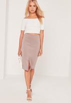 Missguided Scuba Split Front Midi Skirt Lilac