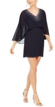 Vince Camuto Petite Beaded Cape-Overlay Sheath Dress