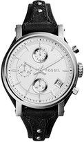 Fossil Women's Chronograph Original Boyfriend Black Leather Strap Watch 38mm ES3817