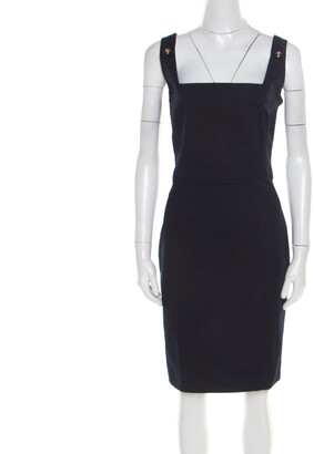 DSQUARED2 Navy Blue Cotton Sleeveless Dress L