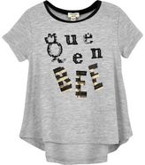 River Island Mini girls grey 'Queen Bee' sequin T-shirt