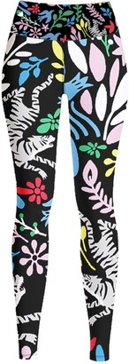 Jessie Zhao New York High Waist Yoga Leggings In Night Flowers