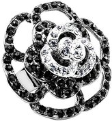 Body Candy Black and Clear Flower Bloom Adjustable Ring