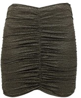 Lisa Marie Fernandez Ruched Metallic Mini Skirt - Womens - Black Gold