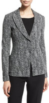 Armani Collezioni Fitted Cotton-Blend Herringbone Jacket, Black/Multi