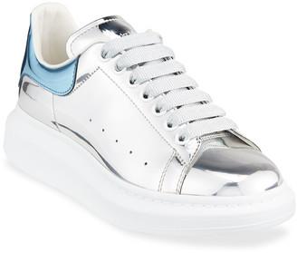 Alexander McQueen Men's Metallic Leather Chunky Sneakers