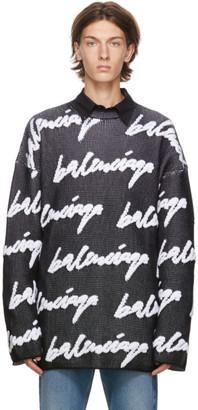 Balenciaga Black and White 3D Scribble Logo Sweater