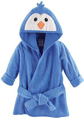 Luvable Friends Boys' Bath Robes Boy - Blue Penguin Hooded Bathrobe - Newborn
