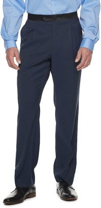 Bentley Men's Steve Harvey Solid Blue Geo Pleated Tuxedo Pants