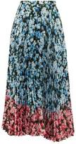Mary Katrantzou Uni Rose-print Pleated Crepe Midi Skirt - Womens - Blue Multi