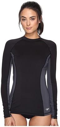 Speedo Solid Long Sleeve Rashguard Black) Women's Swimwear