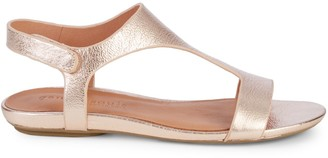 Gentle Souls Layla Metallic-Leather T-Strap Sandals