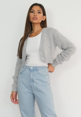 Missguided Grey Basic Knitted Cardigan