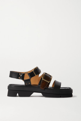 Dries Van Noten Two-tone Smooth And Patent-leather Platform Sandals - Black