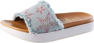 Minnetonka Women's Abbey Slide/Light Blue Denim Sandal 5 UK