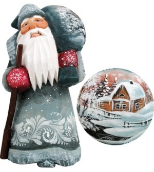 G.Debrekht G.DeBrekht Woodcarved and Hand Painted Old World Bag of Cheer Santa Figurine