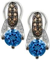 LeVian LE VIAN Blue Topaz Chocolate and White Diamonds 2.31 cttw Earrings 14k White Gold Omega Back