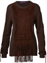 Ralph Lauren Suede-Trim Silk-Blend Sweater