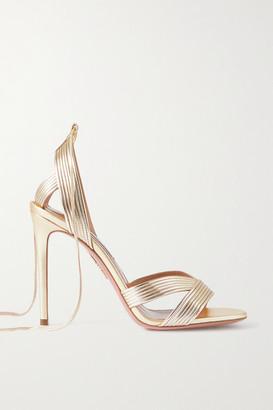 Aquazzura Ari 105 Metallic Leather Sandals - Gold