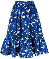 MSGM leaf print high-waisted skirt