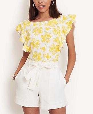 Ann Taylor Citrus Blossom Ruffle Sleeve Shell Top