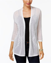 Charter Club Petite Pointelle Open-Front Cardigan, Only at Macy's