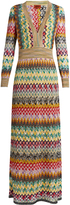 Missoni Long-sleeved V-neck crochet-knit gown