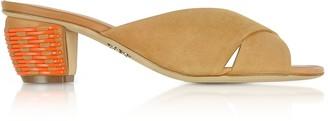 Rodo Mustard Suede 5MM Criss-Cross Slide Sandals