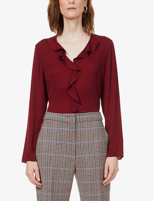 Theory Ruffle-front stretch-silk blouse