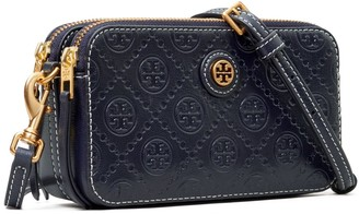 Tory Burch T Monogram Leather Double-Zip Mini Bag