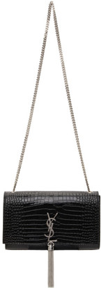 Saint Laurent Black Croc Medium Kate Tassel Bag