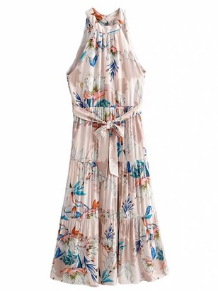 Goodnight Macaroon 'Grace' Halter Neck Waist Tied Floral Maxi Dress