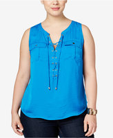 INC International Concepts Plus Size Lace-Up Utility Blouse, Only at Macy's