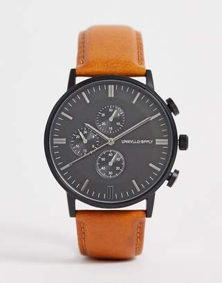 Asos Design DESIGN watch with sub dial detail in brown