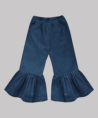 A.T.U.N. Girls' Casual Pants Silver - Silver-Blue Corduroy Ruffle-Hem Pants - Girls