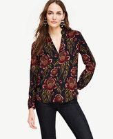 Ann Taylor Rose Garden Pleated Collar Blouse