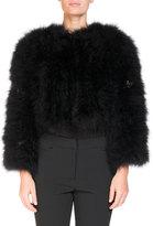 Erdem Ivett Cropped Feather-Embellished Jacket