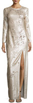 Halston Long-Sleeve Sequined Column Gown