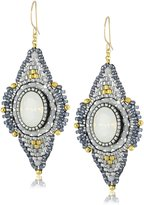 Miguel Ases Opalite and Swarovski Angled Earrings