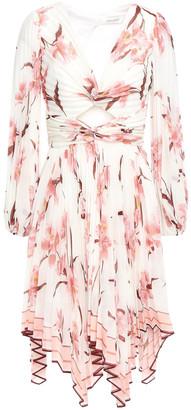Zimmermann Corsage Twist-front Cutout Floral-print Organza Mini Dress