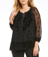 Gibson & Latimer Burnout Velvet Blouse
