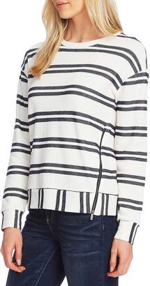 Vince Camuto Zip Detail Stripe Top