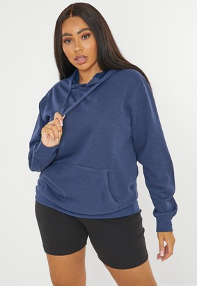 Missguided Plus Size Navy Basic Oversized Hoodie