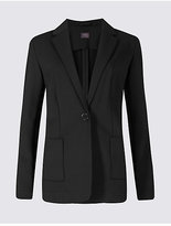 M&S Collection One Button Brushed Back Jersey Blazer